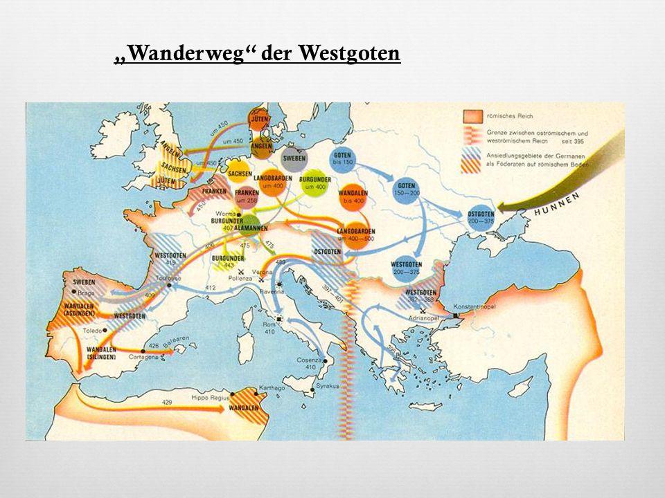 Ostgoten  Wanderten nach Oberitalien  Wurden verdrängt von Hunnen (nach dem Tod des Hunnenkönigs  wieder frei)  Untergand: 553 n.