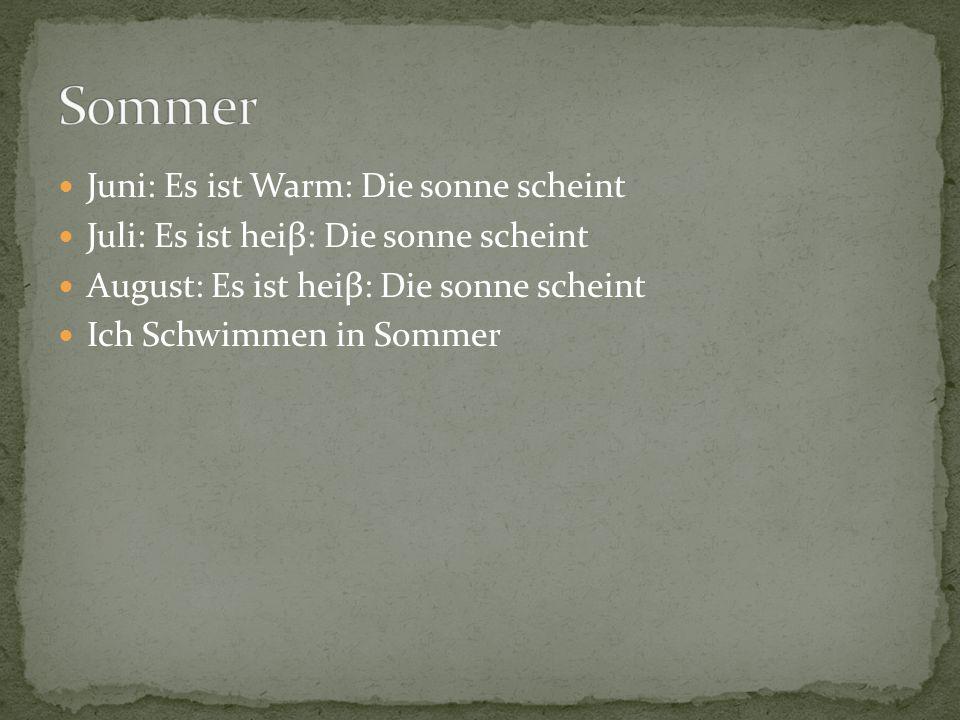 Juni: Es ist Warm: Die sonne scheint Juli: Es ist heiβ: Die sonne scheint August: Es ist heiβ: Die sonne scheint Ich Schwimmen in Sommer