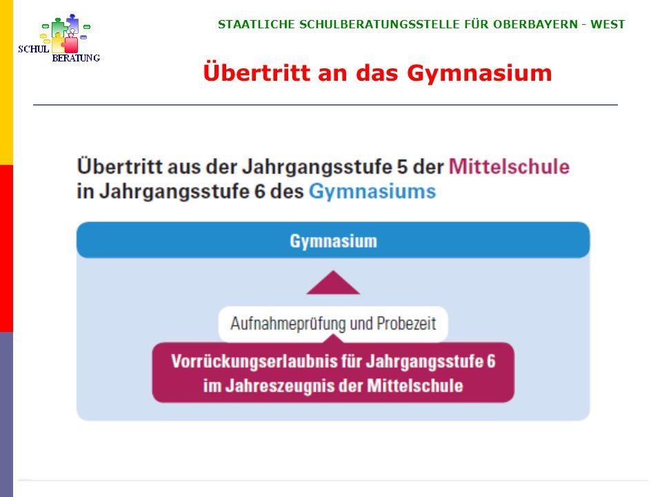 STAATLICHE SCHULBERATUNGSSTELLE FÜR OBERBAYERN ‑ WEST Übertritt an das Gymnasium