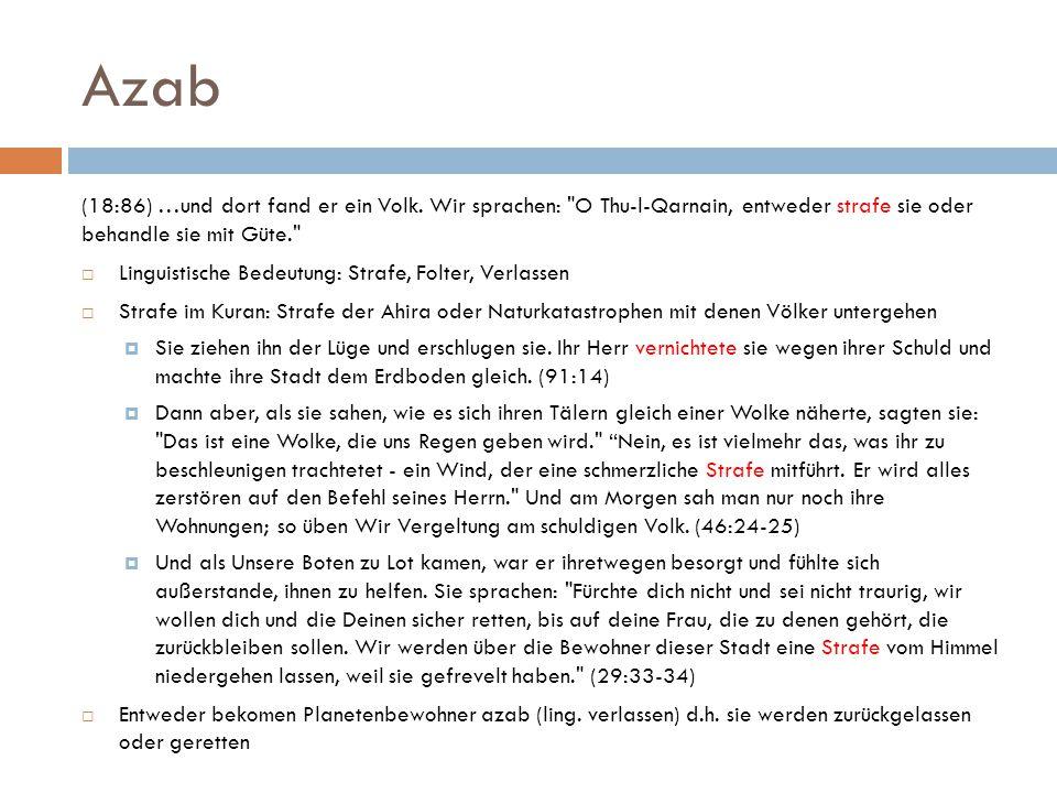 Azab (18:86) …und dort fand er ein Volk.