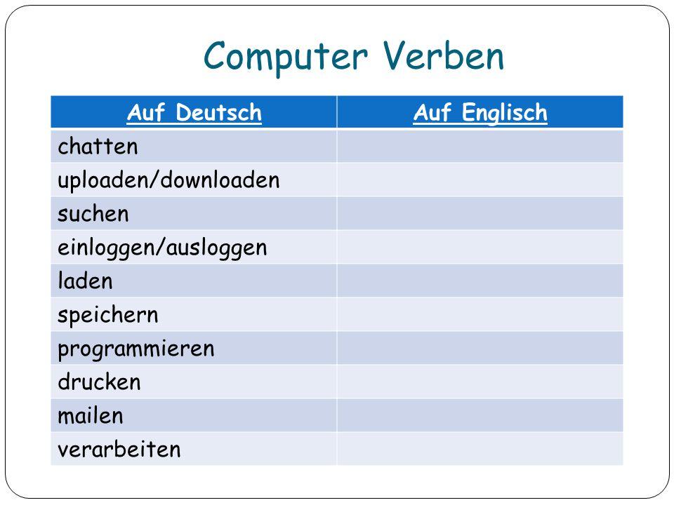 Computer Verben Auf DeutschAuf Englisch chatten uploaden/downloaden suchen einloggen/ausloggen laden speichern programmieren drucken mailen verarbeite