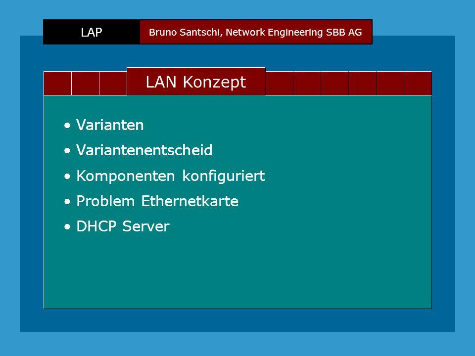 Bruno Santschi, Network Engineering SBB AG LAP Text LAN Konzept Varianten Variantenentscheid Varianten Variantenentscheid Komponenten konfiguriert Problem Ethernetkarte DHCP Server