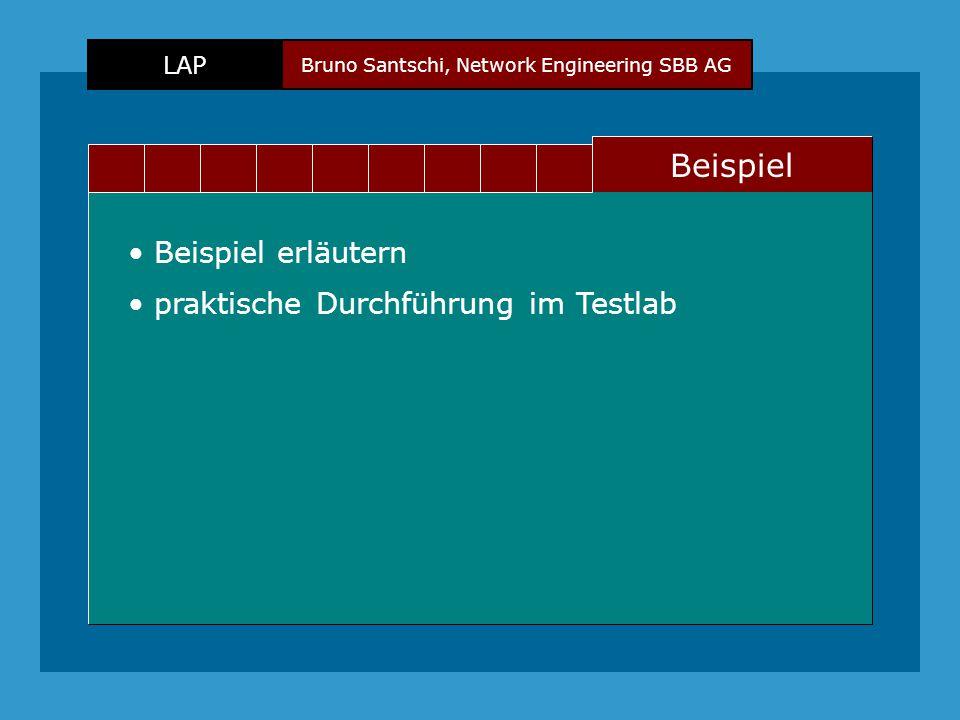 Bruno Santschi, Network Engineering SBB AG LAP Text Beispiel Beispiel erläutern praktische Durchführung im Testlab
