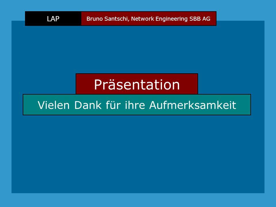 Bruno Santschi, Network Engineering SBB AG LAP Präsentation Vielen Dank für ihre Aufmerksamkeit