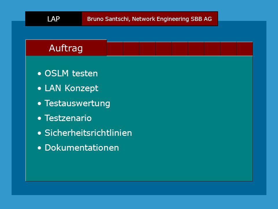 Bruno Santschi, Network Engineering SBB AG LAP Text Auftrag OSLM testen LAN Konzept Sicherheitsrichtlinien Testzenario Testauswertung Dokumentationen