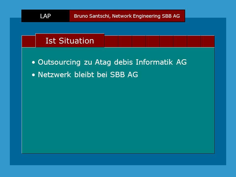 Bruno Santschi, Network Engineering SBB AG LAP Text Ist Situation Outsourcing zu Atag debis Informatik AG Netzwerk bleibt bei SBB AG