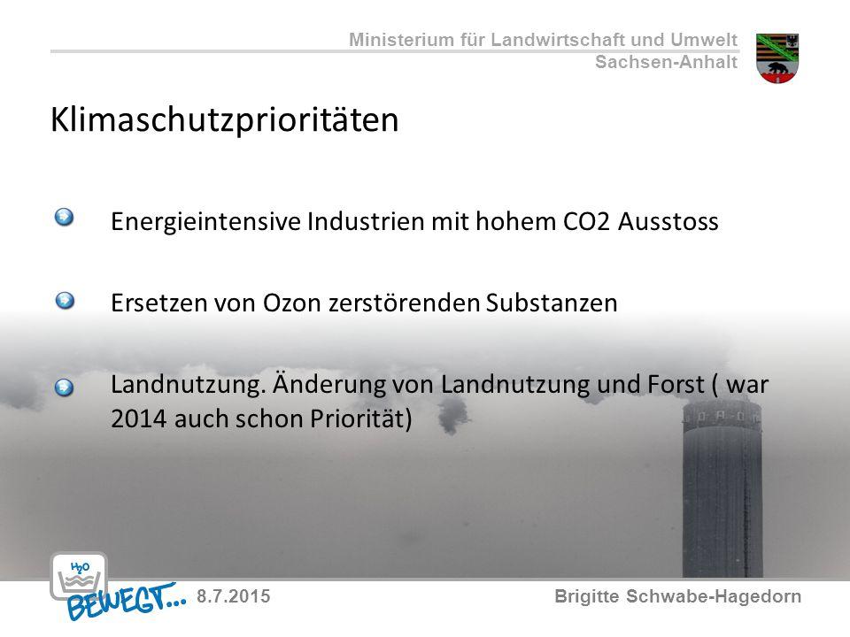 Klimaschutzprioritäten Energieintensive Industrien mit hohem CO2 Ausstoss Ersetzen von Ozon zerstörenden Substanzen Landnutzung. Änderung von Landnutz