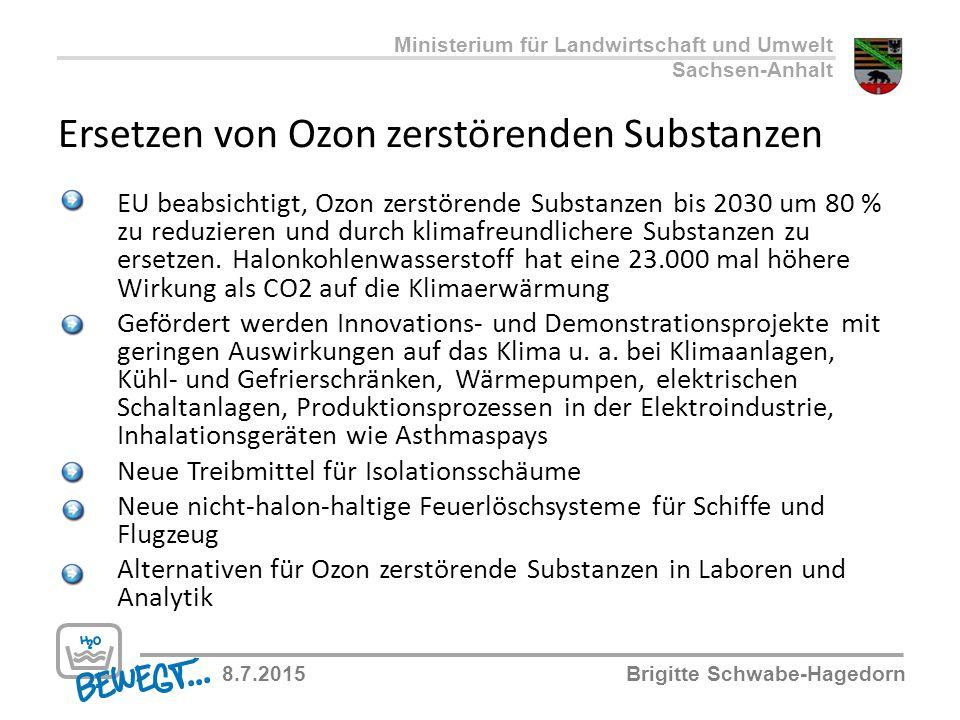 Ersetzen von Ozon zerstörenden Substanzen EU beabsichtigt, Ozon zerstörende Substanzen bis 2030 um 80 % zu reduzieren und durch klimafreundlichere Sub