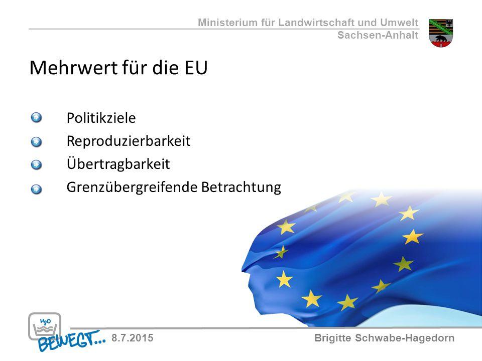 Mehrwert für die EU Politikziele Reproduzierbarkeit Übertragbarkeit Grenzübergreifende Betrachtung Ministerium für Landwirtschaft und Umwelt Sachsen-A