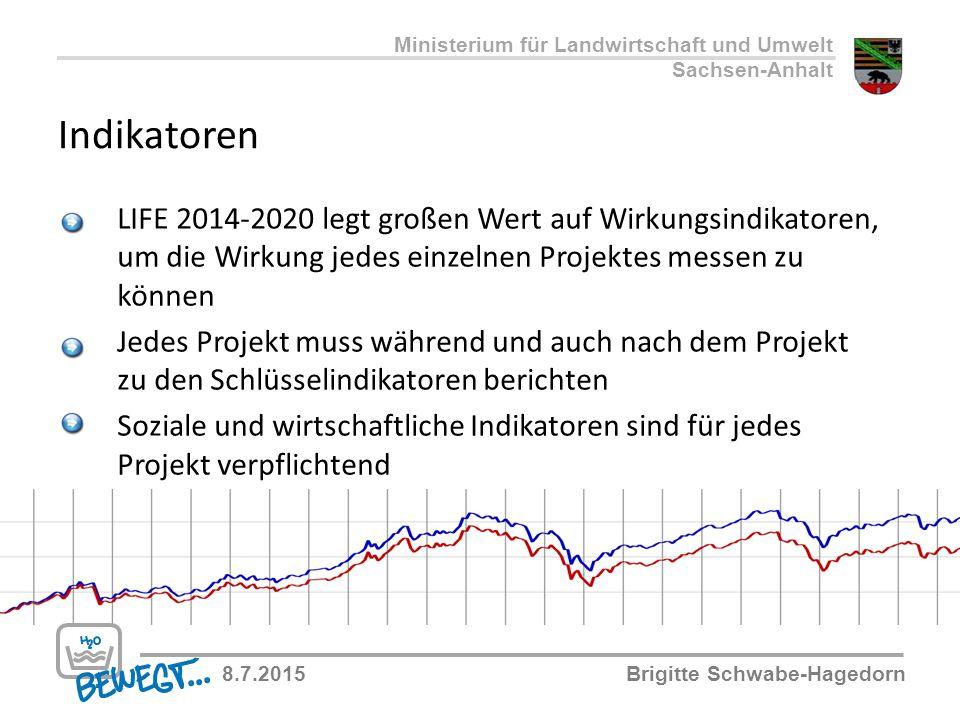 Indikatoren LIFE 2014-2020 legt großen Wert auf Wirkungsindikatoren, um die Wirkung jedes einzelnen Projektes messen zu können Jedes Projekt muss währ