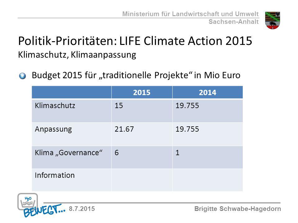 """Politik-Prioritäten: LIFE Climate Action 2015 Klimaschutz, Klimaanpassung Budget 2015 für """"traditionelle Projekte"""" in Mio Euro 20152014 Klimaschutz151"""