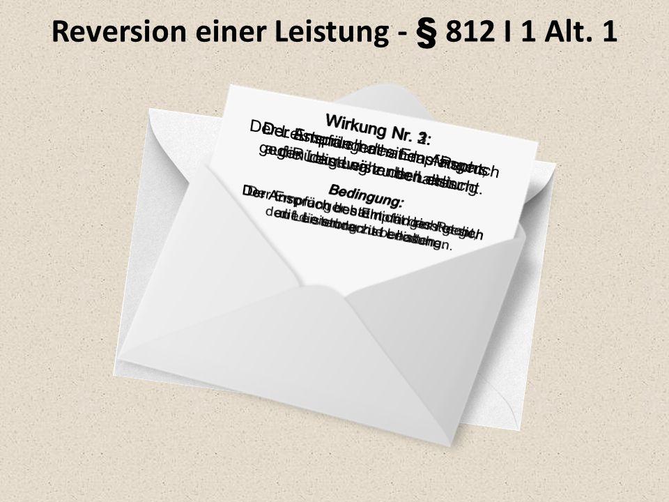 Reversion einer Leistung - § 812 I 1 Alt. 1