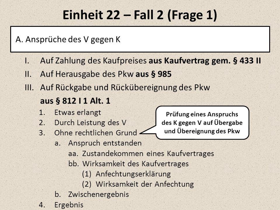 Einheit 22 – Fall 2 (Frage 1) A.