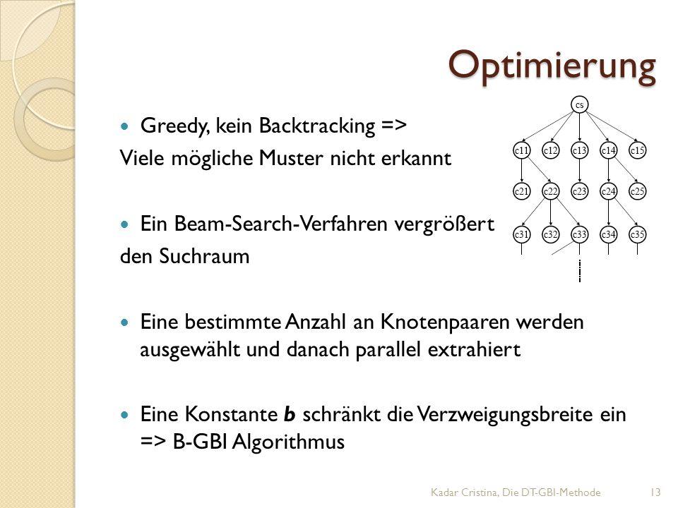 Optimierung Greedy, kein Backtracking => Viele mögliche Muster nicht erkannt Ein Beam-Search-Verfahren vergrößert den Suchraum Eine bestimmte Anzahl an Knotenpaaren werden ausgewählt und danach parallel extrahiert Eine Konstante b schränkt die Verzweigungsbreite ein => B-GBI Algorithmus Kadar Cristina, Die DT-GBI-Methode13