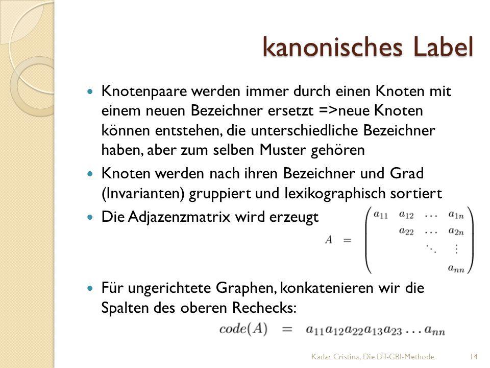kanonisches Label kanonisches Label Knotenpaare werden immer durch einen Knoten mit einem neuen Bezeichner ersetzt =>neue Knoten können entstehen, die unterschiedliche Bezeichner haben, aber zum selben Muster gehören Knoten werden nach ihren Bezeichner und Grad (Invarianten) gruppiert und lexikographisch sortiert Die Adjazenzmatrix wird erzeugt Für ungerichtete Graphen, konkatenieren wir die Spalten des oberen Rechecks: Kadar Cristina, Die DT-GBI-Methode14
