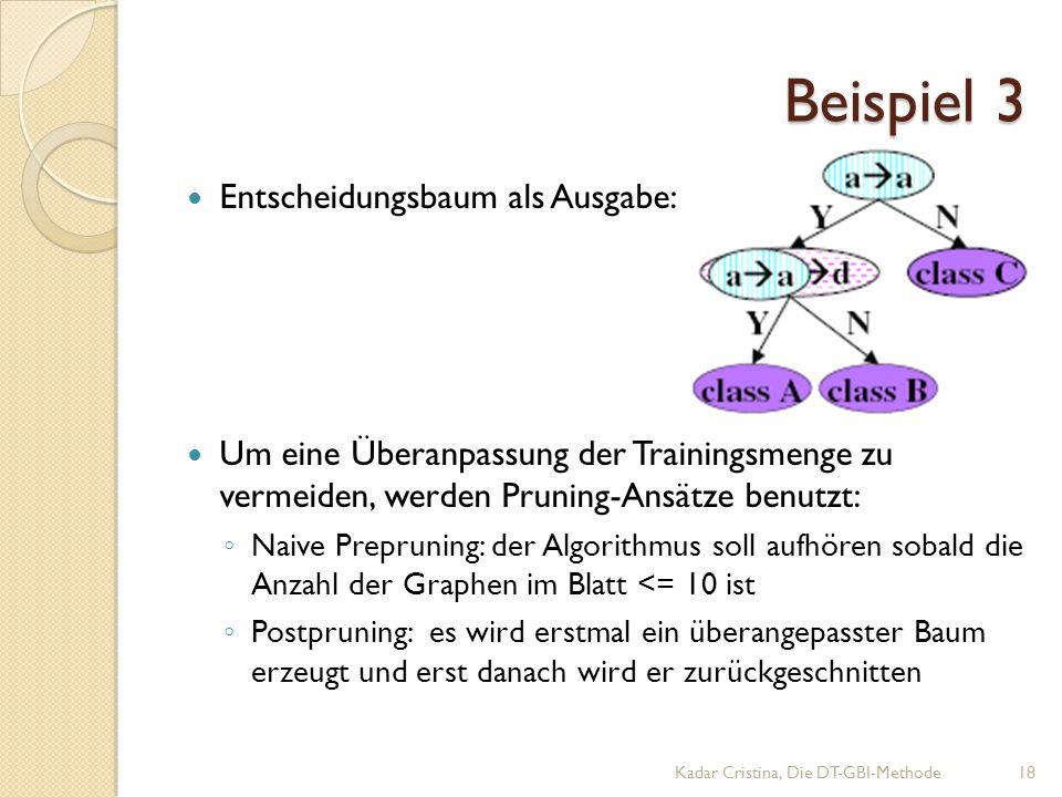 Beispiel 3 Kadar Cristina, Die DT-GBI-Methode18 Entscheidungsbaum als Ausgabe: Um eine Überanpassung der Trainingsmenge zu vermeiden, werden Pruning-Ansätze benutzt: ◦ Naive Prepruning: der Algorithmus soll aufhören sobald die Anzahl der Graphen im Blatt <= 10 ist ◦ Postpruning: es wird erstmal ein überangepasster Baum erzeugt und erst danach wird er zurückgeschnitten