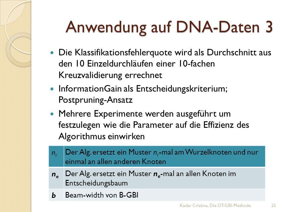Anwendung auf DNA-Daten 3 Kadar Cristina, Die DT-GBI-Methode25 Die Klassifikationsfehlerquote wird als Durchschnitt aus den 10 Einzeldurchläufen einer 10-fachen Kreuzvalidierung errechnet InformationGain als Entscheidungskriterium; Postpruning-Ansatz Mehrere Experimente werden ausgeführt um festzulegen wie die Parameter auf die Effizienz des Algorithmus einwirken nrnr Der Alg.