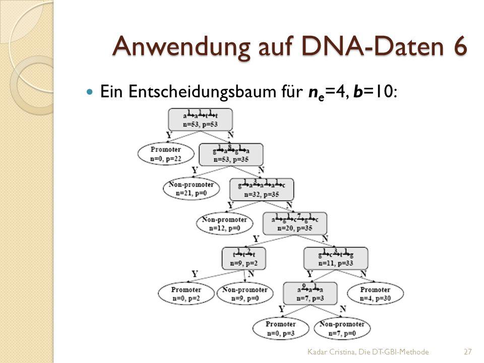 Anwendung auf DNA-Daten 6 Ein Entscheidungsbaum für n e =4, b=10: Kadar Cristina, Die DT-GBI-Methode27