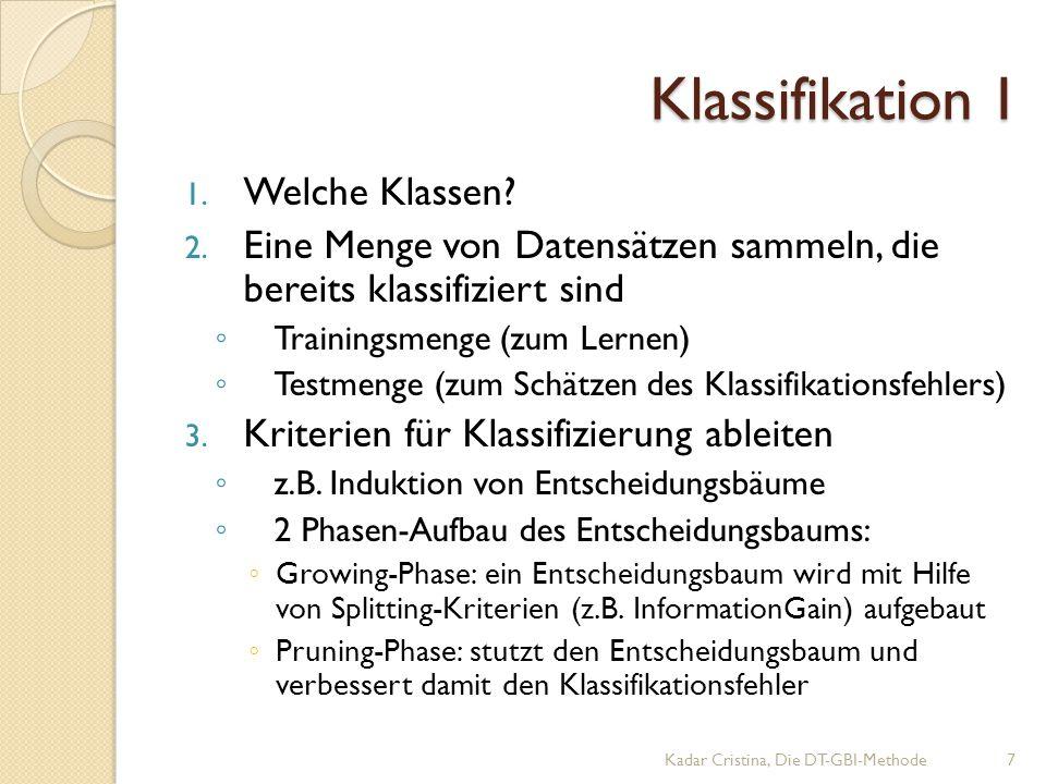 Klassifikation I Kadar Cristina, Die DT-GBI-Methode7 1.