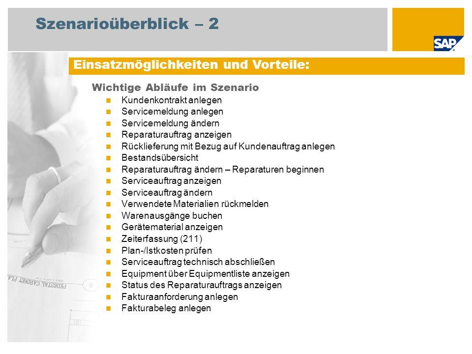 Szenarioüberblick – 3 Erforderlich SAP enhancement package 4 for SAP ERP 6.0 An den Abläufen beteiligte Benutzerrollen Dienstleister (Service) Vertriebsachbearbeiter Servicemitarbeiter Sachbearbeiter Fakturierung Erforderliche SAP-Anwendungen: