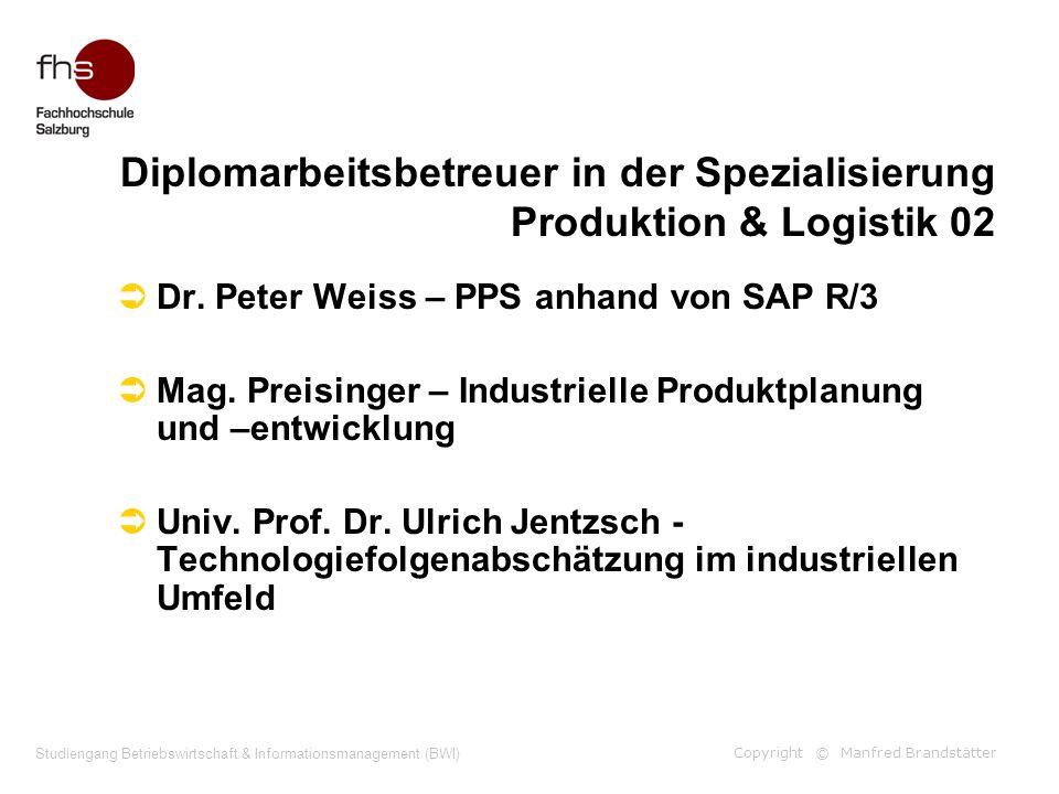 Copyright © Manfred Brandstätter Studiengang Betriebswirtschaft & Informationsmanagement (BWI) Diplomarbeitsbetreuer in der Spezialisierung Produktion