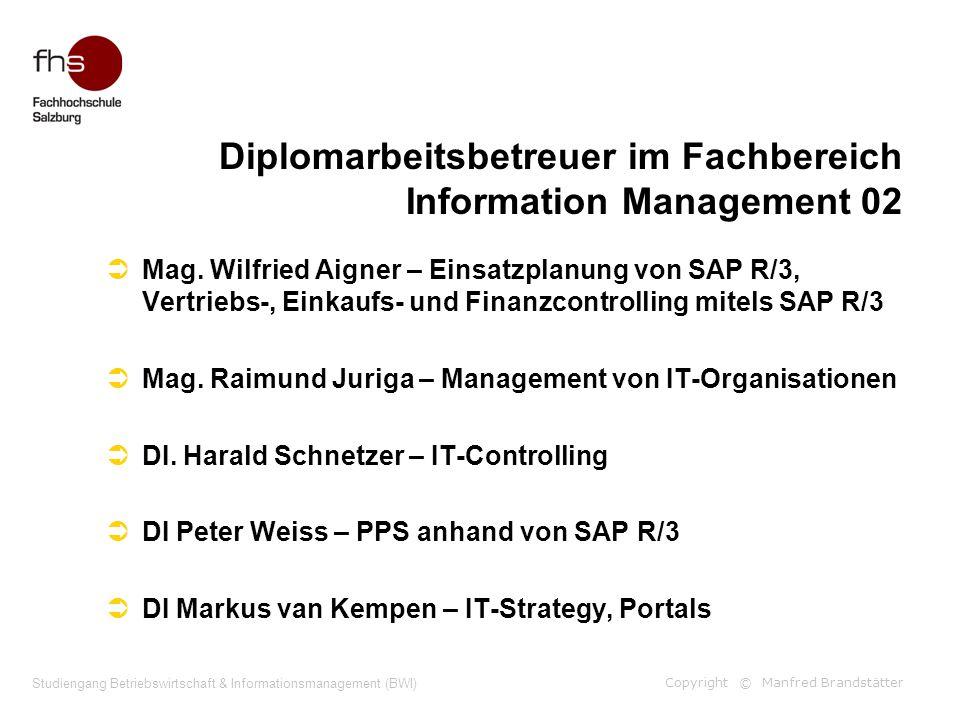 Copyright © Manfred Brandstätter Studiengang Betriebswirtschaft & Informationsmanagement (BWI) Diplomarbeitsbetreuer im Fachbereich Information Manage