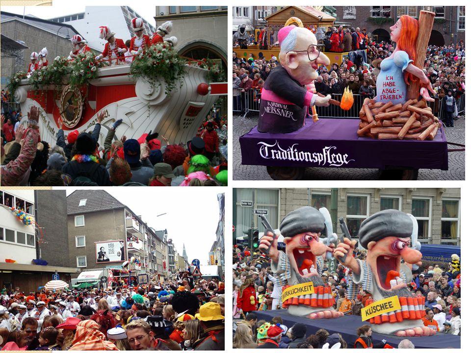 Karneval Eine Tradition; man feiert vor der sechswöchigen Fastenzeit der katholischen Kirche Wird unterschiedlich zelebriert: Verkleidung, Masken, Karnevalsumzüge, Musik Es gibt viele Benennungen für den Karneval: zum Beispiel Fasching (in Bayern), Fastnacht (in der Schweitz)