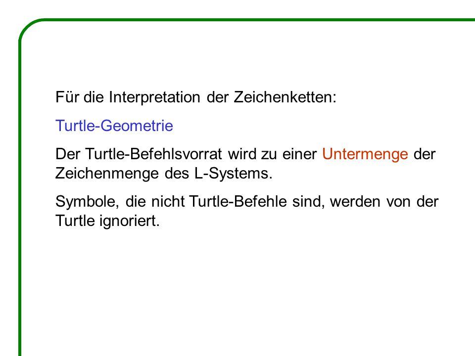 Für die Interpretation der Zeichenketten: Turtle-Geometrie Der Turtle-Befehlsvorrat wird zu einer Untermenge der Zeichenmenge des L-Systems.
