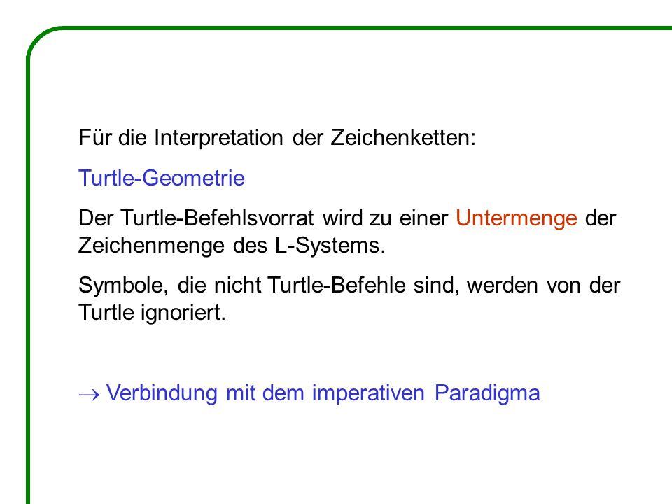 Für die Interpretation der Zeichenketten: Turtle-Geometrie Der Turtle-Befehlsvorrat wird zu einer Untermenge der Zeichenmenge des L-Systems. Symbole,