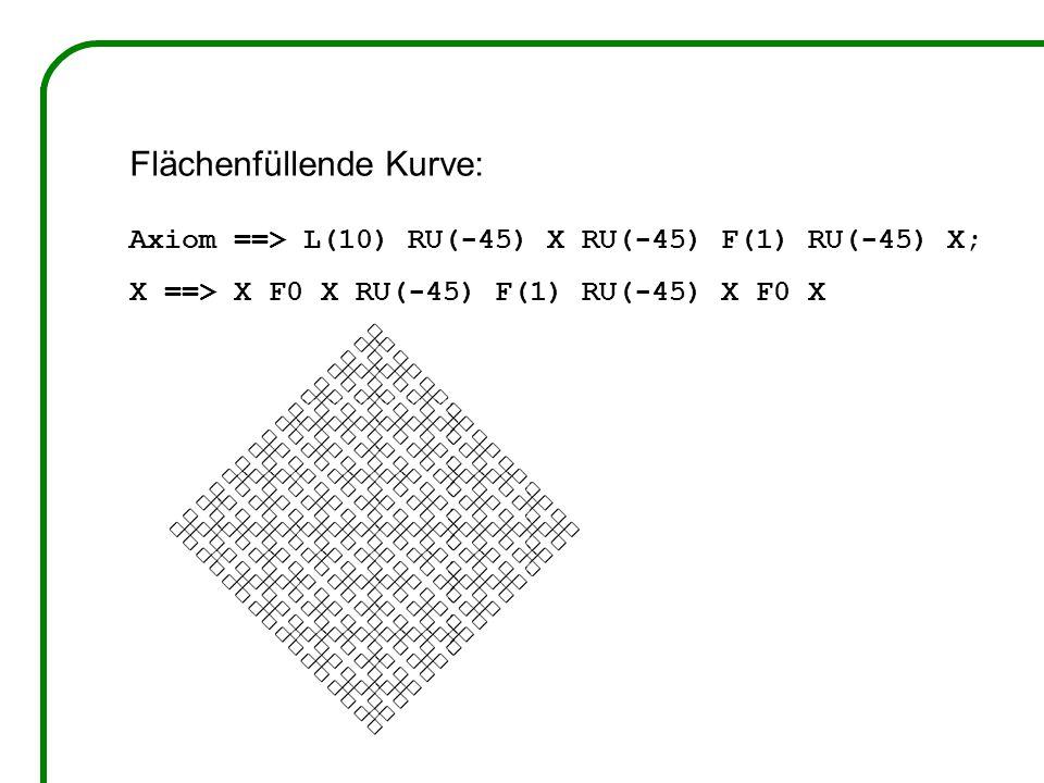 Flächenfüllende Kurve: Axiom ==> L(10) RU(-45) X RU(-45) F(1) RU(-45) X; X ==> X F0 X RU(-45) F(1) RU(-45) X F0 X
