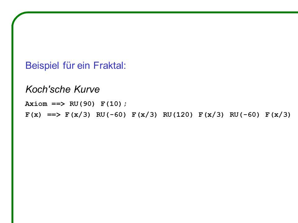 Beispiel für ein Fraktal: Koch'sche Kurve Axiom ==> RU(90) F(10); F(x) ==> F(x/3) RU(-60) F(x/3) RU(120) F(x/3) RU(-60) F(x/3)
