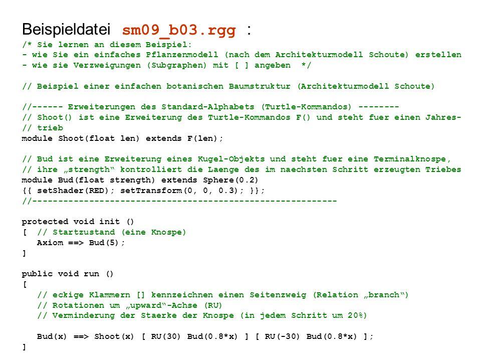 """Beispieldatei sm09_b03.rgg : /* Sie lernen an diesem Beispiel: - wie Sie ein einfaches Pflanzenmodell (nach dem Architekturmodell Schoute) erstellen - wie sie Verzweigungen (Subgraphen) mit [ ] angeben */ // Beispiel einer einfachen botanischen Baumstruktur (Architekturmodell Schoute) //------ Erweiterungen des Standard-Alphabets (Turtle-Kommandos) -------- // Shoot() ist eine Erweiterung des Turtle-Kommandos F() und steht fuer einen Jahres- // trieb module Shoot(float len) extends F(len); // Bud ist eine Erweiterung eines Kugel-Objekts und steht fuer eine Terminalknospe, // ihre """"strength kontrolliert die Laenge des im naechsten Schritt erzeugten Triebes module Bud(float strength) extends Sphere(0.2) {{ setShader(RED); setTransform(0, 0, 0.3); }}; //----------------------------------------------------------- protected void init () [ // Startzustand (eine Knospe) Axiom ==> Bud(5); ] public void run () [ // eckige Klammern [] kennzeichnen einen Seitenzweig (Relation """"branch ) // Rotationen um """"upward -Achse (RU) // Verminderung der Staerke der Knospe (in jedem Schritt um 20%) Bud(x) ==> Shoot(x) [ RU(30) Bud(0.8*x) ] [ RU(-30) Bud(0.8*x) ]; ]"""