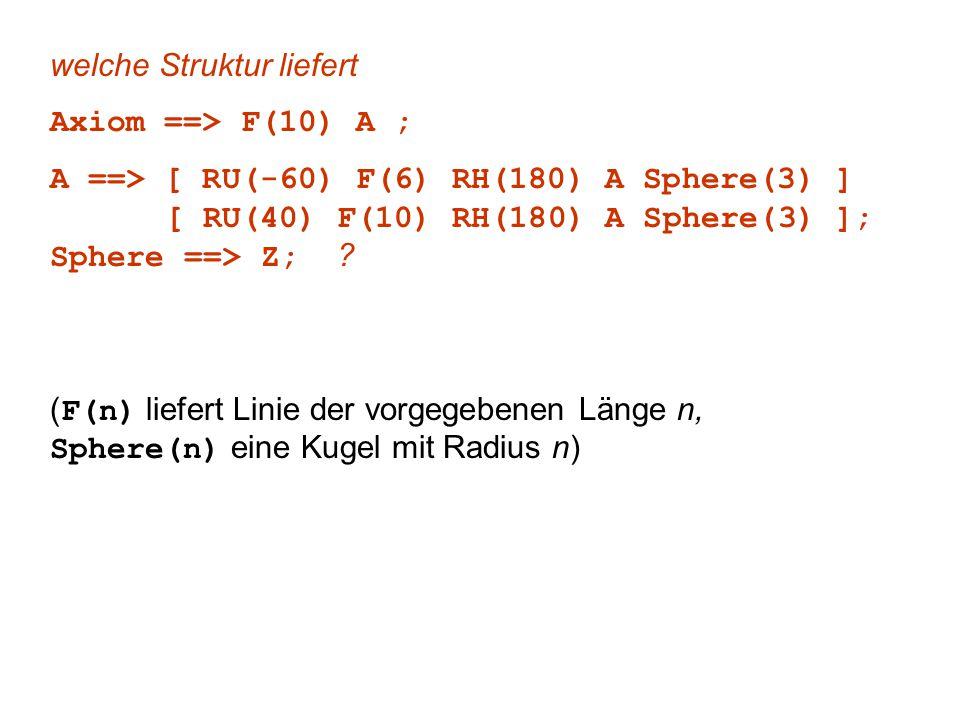 welche Struktur liefert Axiom ==> F(10) A ; A ==> [ RU(-60) F(6) RH(180) A Sphere(3) ] [ RU(40) F(10) RH(180) A Sphere(3) ]; Sphere ==> Z; ? ( F(n) li