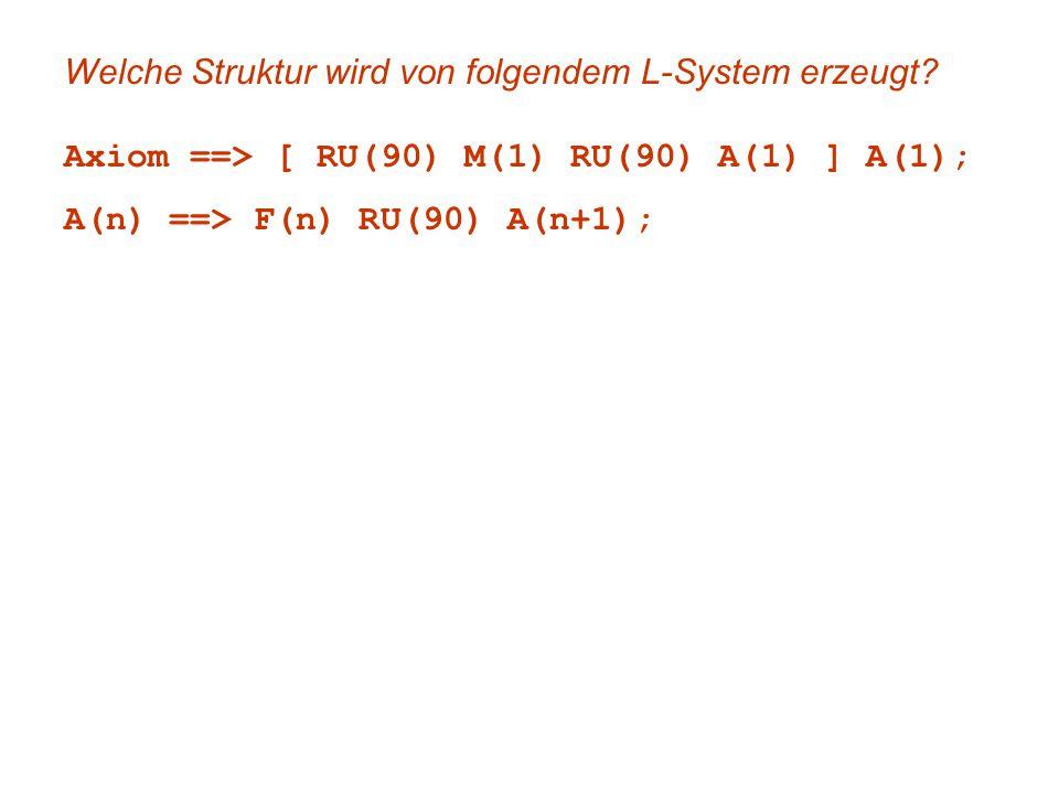 Welche Struktur wird von folgendem L-System erzeugt? Axiom ==> [ RU(90) M(1) RU(90) A(1) ] A(1); A(n) ==> F(n) RU(90) A(n+1);
