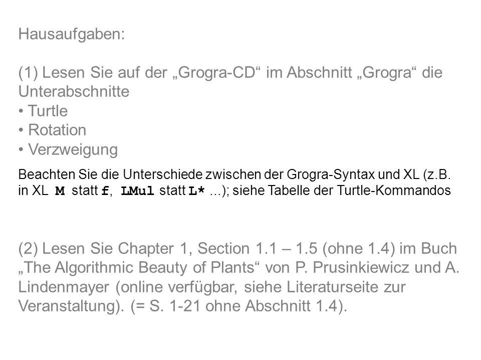 """Hausaufgaben: (1) Lesen Sie auf der """"Grogra-CD im Abschnitt """"Grogra die Unterabschnitte Turtle Rotation Verzweigung Beachten Sie die Unterschiede zwischen der Grogra-Syntax und XL (z.B."""