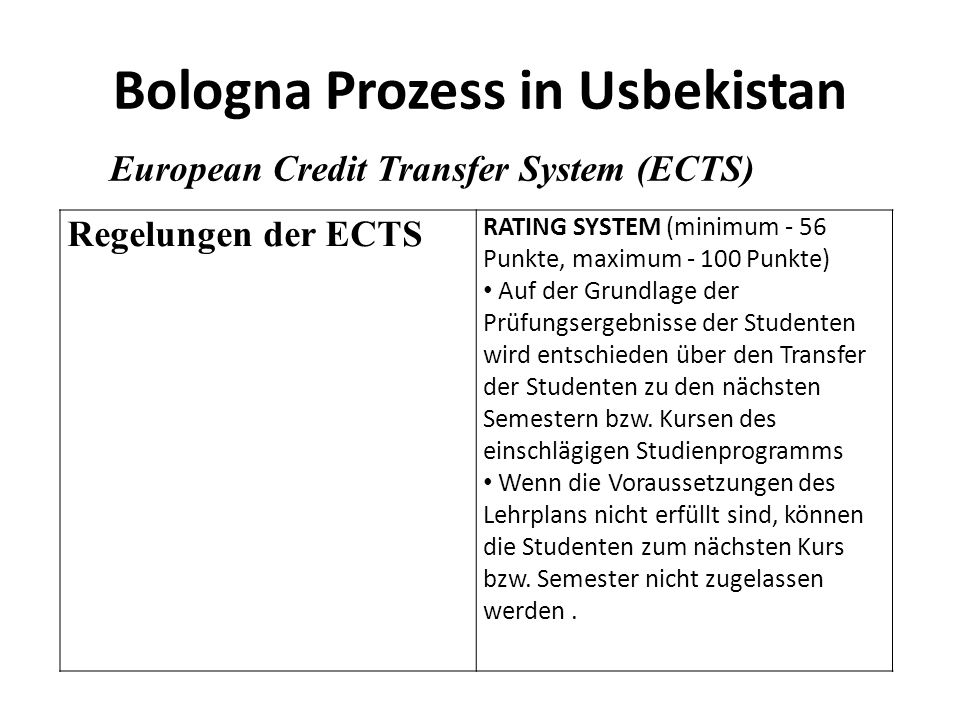 Bologna Prozess in Usbekistan European Credit Transfer System (ECTS) Regelungen der ECTS RATING SYSTEM (minimum - 56 Punkte, maximum - 100 Punkte) Auf