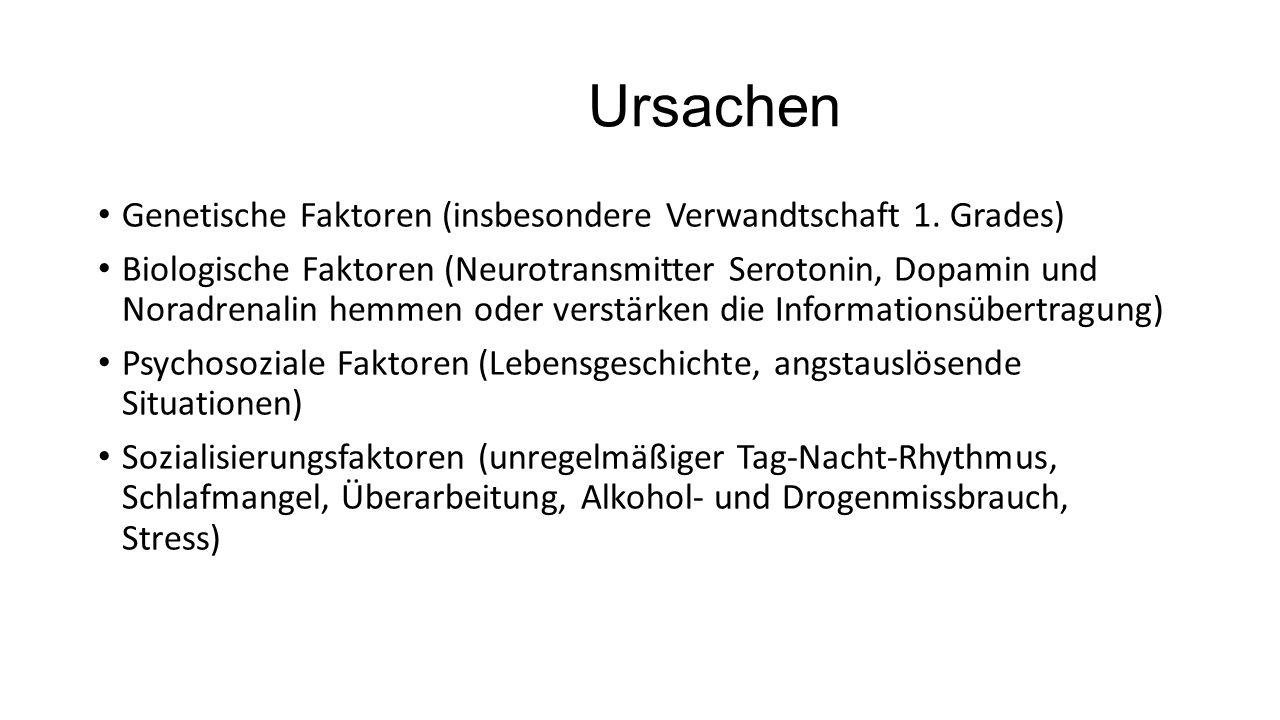 Ursachen Genetische Faktoren (insbesondere Verwandtschaft 1. Grades) Biologische Faktoren (Neurotransmitter Serotonin, Dopamin und Noradrenalin hemmen