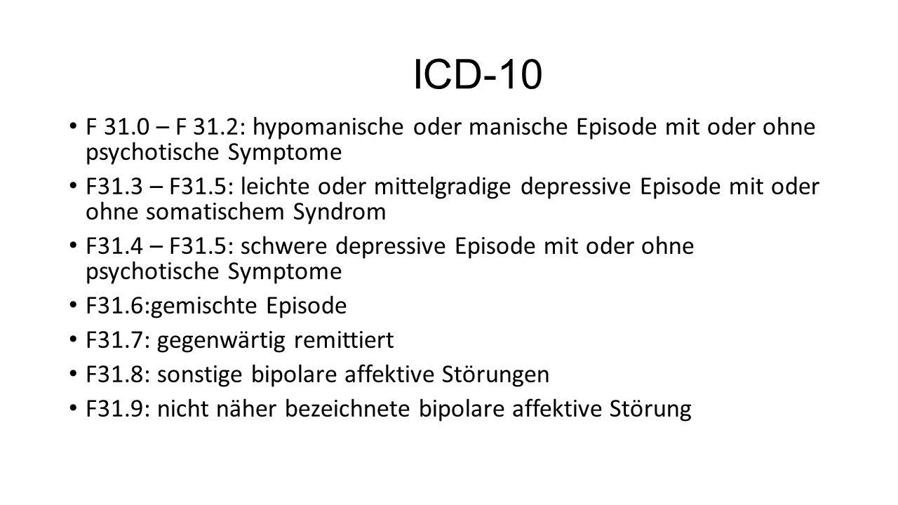 ICD-10 F 31.0 – F 31.2: hypomanische oder manische Episode mit oder ohne psychotische Symptome F31.3 – F31.5: leichte oder mittelgradige depressive Episode mit oder ohne somatischem Syndrom F31.4 – F31.5: schwere depressive Episode mit oder ohne psychotische Symptome F31.6:gemischte Episode F31.7: gegenwärtig remittiert F31.8: sonstige bipolare affektive Störungen F31.9: nicht näher bezeichnete bipolare affektive Störung
