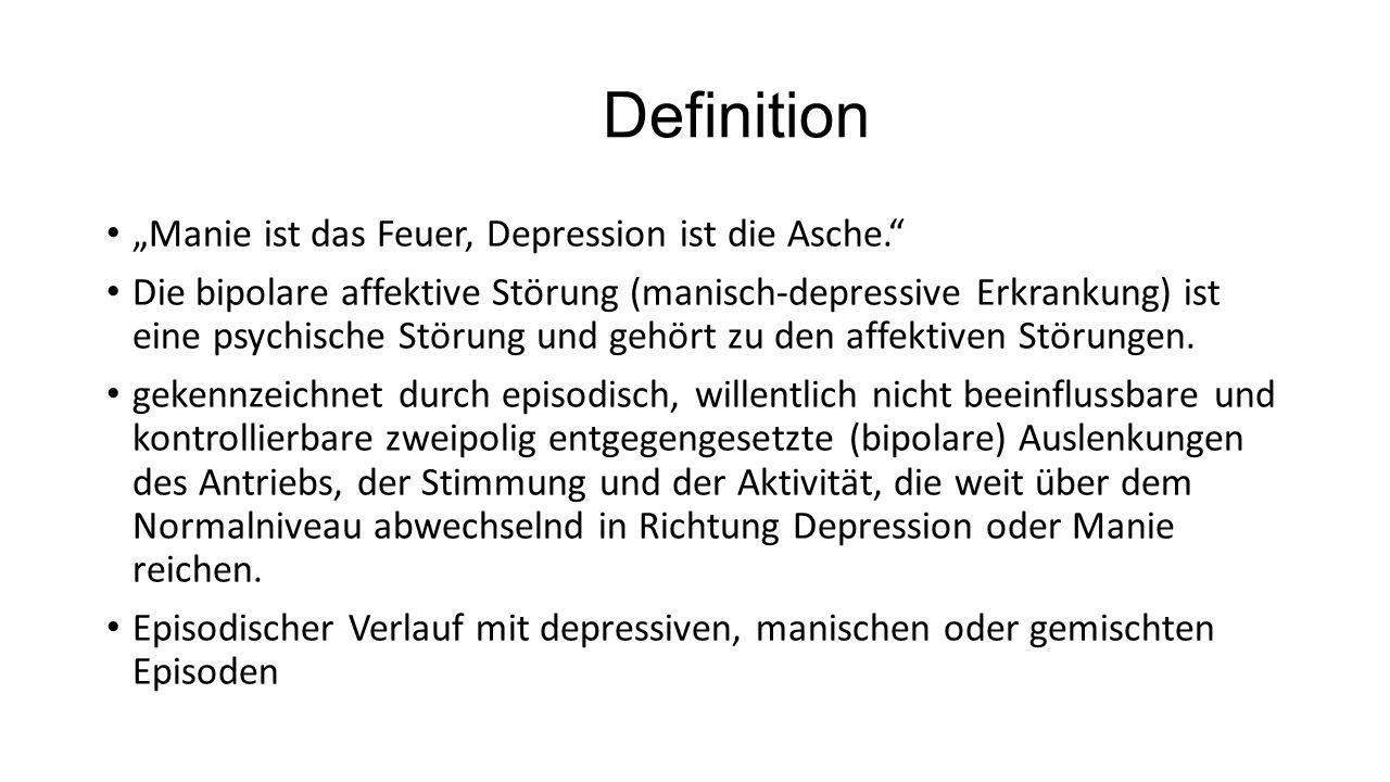 Depressive Episode Überdurchschnittlich gedrückte Stimmung Antriebslosigkeit, Freudlosigkeit, innere Leere Häufig sind suizidale Gedanken, -impulse oder –handlungen Interessenverlust Gewichtsverlust oder –zunahme um mehr als 5% im Monat Schlafstörung oder übersteigertes Schlafbedürfnis Psychomotorische Unruhe oder Verlangsamung (Erschöpfung) Gefühl der Wertlosigkeit oder ausgeprägte und unangemessene Schuldgefühle (können wahnhaft sein)