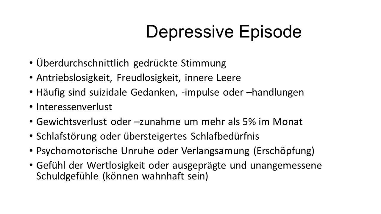 Depressive Episode Überdurchschnittlich gedrückte Stimmung Antriebslosigkeit, Freudlosigkeit, innere Leere Häufig sind suizidale Gedanken, -impulse od