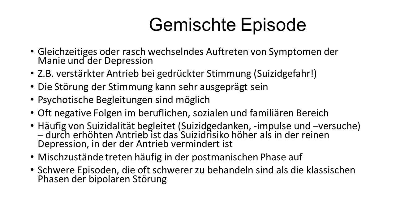 Gemischte Episode Gleichzeitiges oder rasch wechselndes Auftreten von Symptomen der Manie und der Depression Z.B.