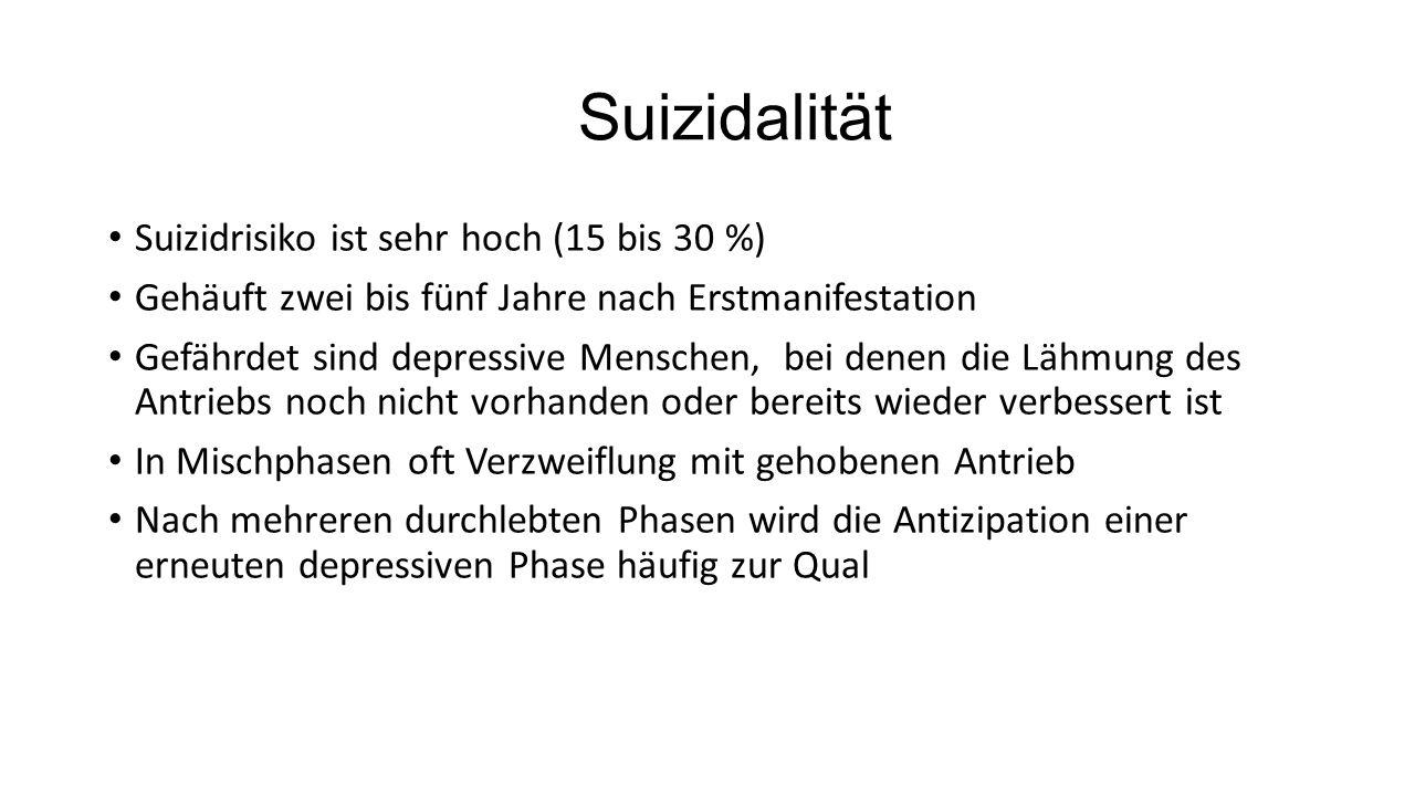 Suizidalität Suizidrisiko ist sehr hoch (15 bis 30 %) Gehäuft zwei bis fünf Jahre nach Erstmanifestation Gefährdet sind depressive Menschen, bei denen