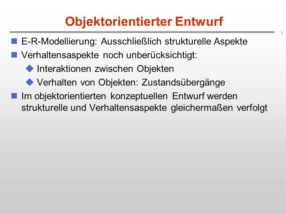 1 Objektorientierter Entwurf E-R-Modellierung: Ausschließlich strukturelle Aspekte Verhaltensaspekte noch unberücksichtigt:  Interaktionen zwischen Objekten  Verhalten von Objekten: Zustandsübergänge Im objektorientierten konzeptuellen Entwurf werden strukturelle und Verhaltensaspekte gleichermaßen verfolgt