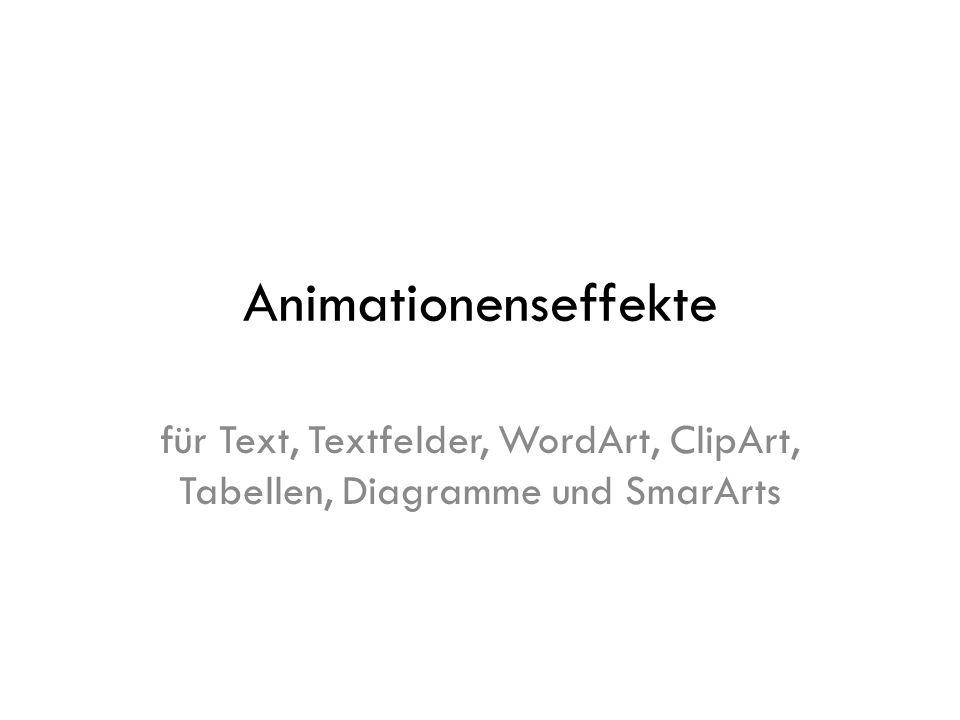 Animationenseffekte für Text, Textfelder, WordArt, ClipArt, Tabellen, Diagramme und SmarArts