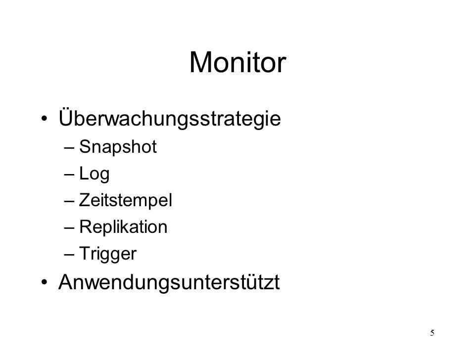 5 Monitor Überwachungsstrategie –Snapshot –Log –Zeitstempel –Replikation –Trigger Anwendungsunterstützt