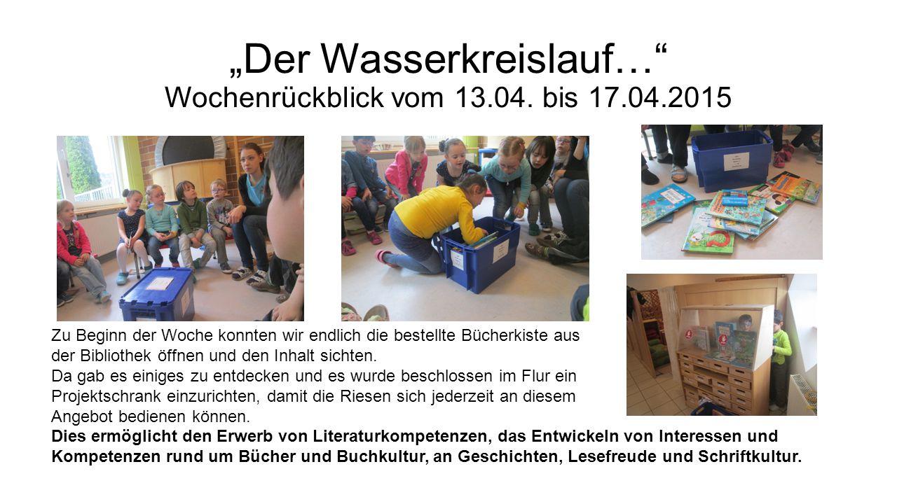 """""""Der Wasserkreislauf… Wochenrückblick vom 13.04."""