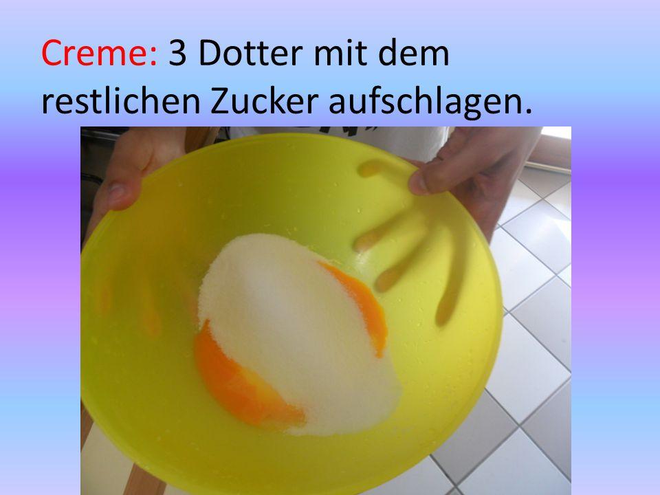 Creme: 3 Dotter mit dem restlichen Zucker aufschlagen.