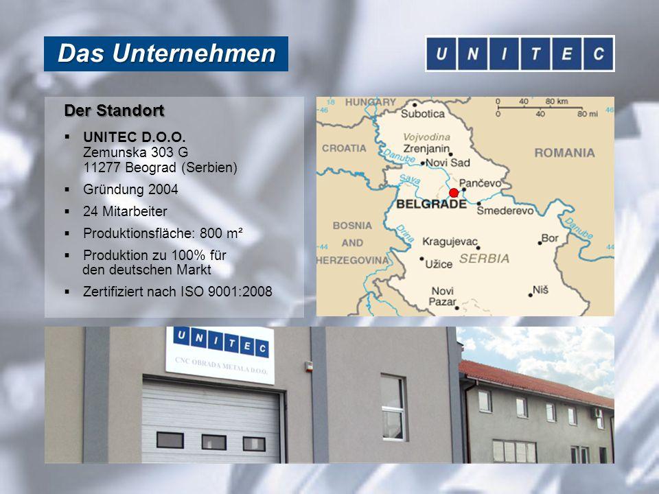 Das Unternehmen Der Standort  UNITEC D.O.O. Zemunska 303 G 11277 Beograd (Serbien)  Gründung 2004  24 Mitarbeiter  Produktionsfläche: 800 m²  Pro