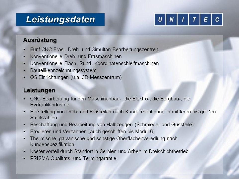 Kundenvorteile Vorteile  Fräs- und Drehteile in mittleren bis großen Stück- zahlen nach Kundenspezifikation  Preisvorteil durch Standort in Serbien und Arbeit im Dreischichtbetrieb  Hohe technische und qualitative Kompetenz der Facharbeiter vor Ort  Qualitäts- und Termingarantie gewährleistet, da die Fertigung von PRISMA Technologie GmbH gesteuert und kontrolliert wird  Technischer und kaufmännischer Ansprechpartner ist die PRISMA Technologie GmbH in Gevelsberg  Im Verbund mit PRISMA steht für die Kunden die gesamte Bandbreite der technisch-/mechanischen Bauelemente im Angebot:  PRISMA:kleine Losgrößen, Komplettbearbeitung, Systemkomponenten, Baugruppen, Montage, Kundenberatung, Logistik  UNITEC:große Losgrößen, auch mit Komplettbe- arbeitung  Der Kunde erhält somit alles aus einer Hand Ansprechpartner PRISMA Technologie GmbH Dietmar Krämer Mühlenstrasse 5 D 52825 Gevelsberg Tel:+49 2332 7588 27 Fax:+49 2332 7588 29 www.prisma-technologie.de