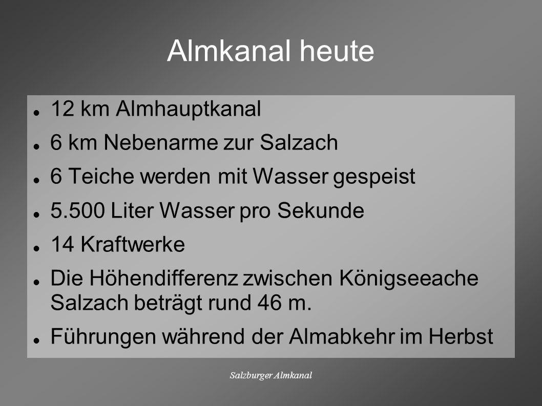 Salzburger Almkanal Almkanal heute 12 km Almhauptkanal 6 km Nebenarme zur Salzach 6 Teiche werden mit Wasser gespeist 5.500 Liter Wasser pro Sekunde 1
